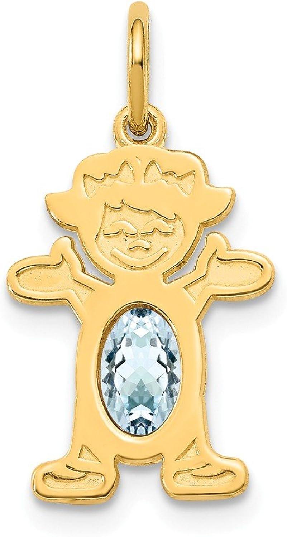 Beautiful Yellow gold 14K Yellowgold 14K Girl 6x4 Oval Genuine AquamarineMarch