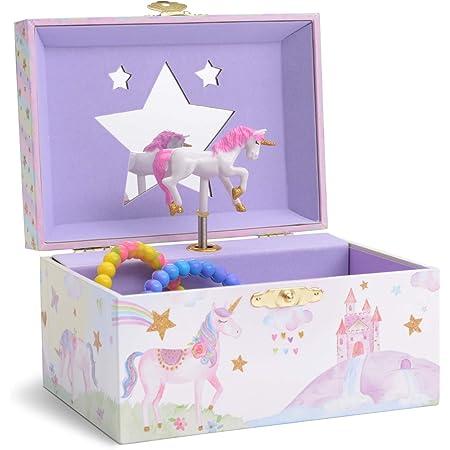 Jewelkeeper - Boîte à Musique de Rangement de Bijoux pour Fille, Licorne à Paillettes - Mélodie The Unicorn
