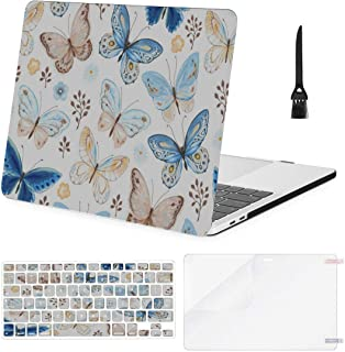 MacBook Pro Case Flying Butterflies Blue Yellow MacBook Air11 Air13 Case MacBook Pro13 Pro15 Plastic Case Keyboard Cover & Screen Protector & Keyboard Cleaning Brush