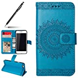 Uposao Hülle Kompatibel mit iPhone 6s Plus 5.5 Handyhülle, Retro Mandala Blumen Muster Handy Schutzhülle Handytasche Lederhülle Leder Tasche Bookstyle Klapphülle Flip Hülle Cover,Blau