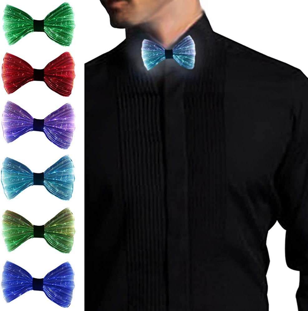 Light Up Bow Tie, Rechargeable - Normal Size LED Glowing Tie All Color Settings In One -Gift Box Included