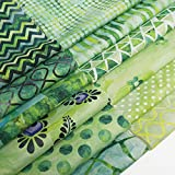 Chuanshui 12 PCS 11.4 x 11.4 inches (29 x 29 cm) 100% Cotton Craft Fabric Bundle for Patchwork 12 Different Pattern Pre-Cut Quilting Fabric Square for DIY Craft Sewing (Green Pattern)