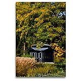 CALVENDO Premium Textil-Leinwand 80 x 120 cm Hoch-Format Historischer Pavillion, Botanischer Garten Augsburg, Deutschland, Leinwanddruck von Martina Cross