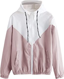 Milumia Women's Color Block Drawstring Hooded Zip up Sports Jacket Windproof Windbreaker