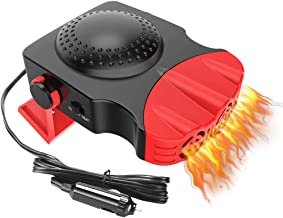 Low Consumpti Auto Electronic Heater Fan Fast Heating Defrost Defogger 2 in 1 Heating//Cooling Function 3-Outlet 12V 150W Car Heater,360/°Rotating Base BOBOO Portable Car Heater