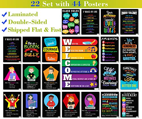 22 Set 44 Posters - Laminated - V5 - Motivational Posters for Classroom & Office Decorations - Inspirational Quote Wall Art for Teachers, Students, School Counselors, Home & Office