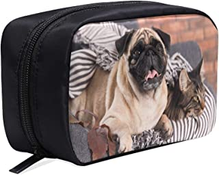 Pug And Cute Cat Sitting Together Portable Travel Makeup Cosmetic Bags Organizer Multifunction Case Small Toiletry Bags For Women And Men Brushes Case