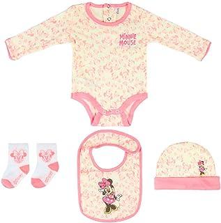Juego de regalo de bienvenida para niña de Disney, con diseño de Minnie Mouse, con gorro, babero, calcetines de 1 a 3 meses, 100% algodón
