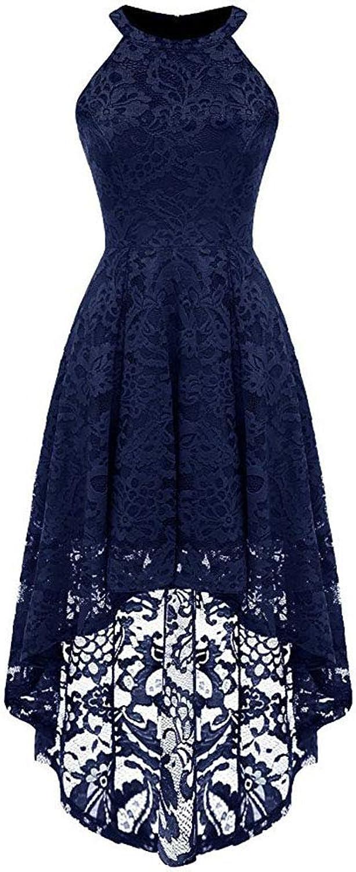 Women's Cocktail Party Dress Vintage Halter Floral Lace Sleeveless HiLo Cocktail Swing Wedding Party Hem Dress Pencil Dress (color   Navy bluee, Size   XXL)