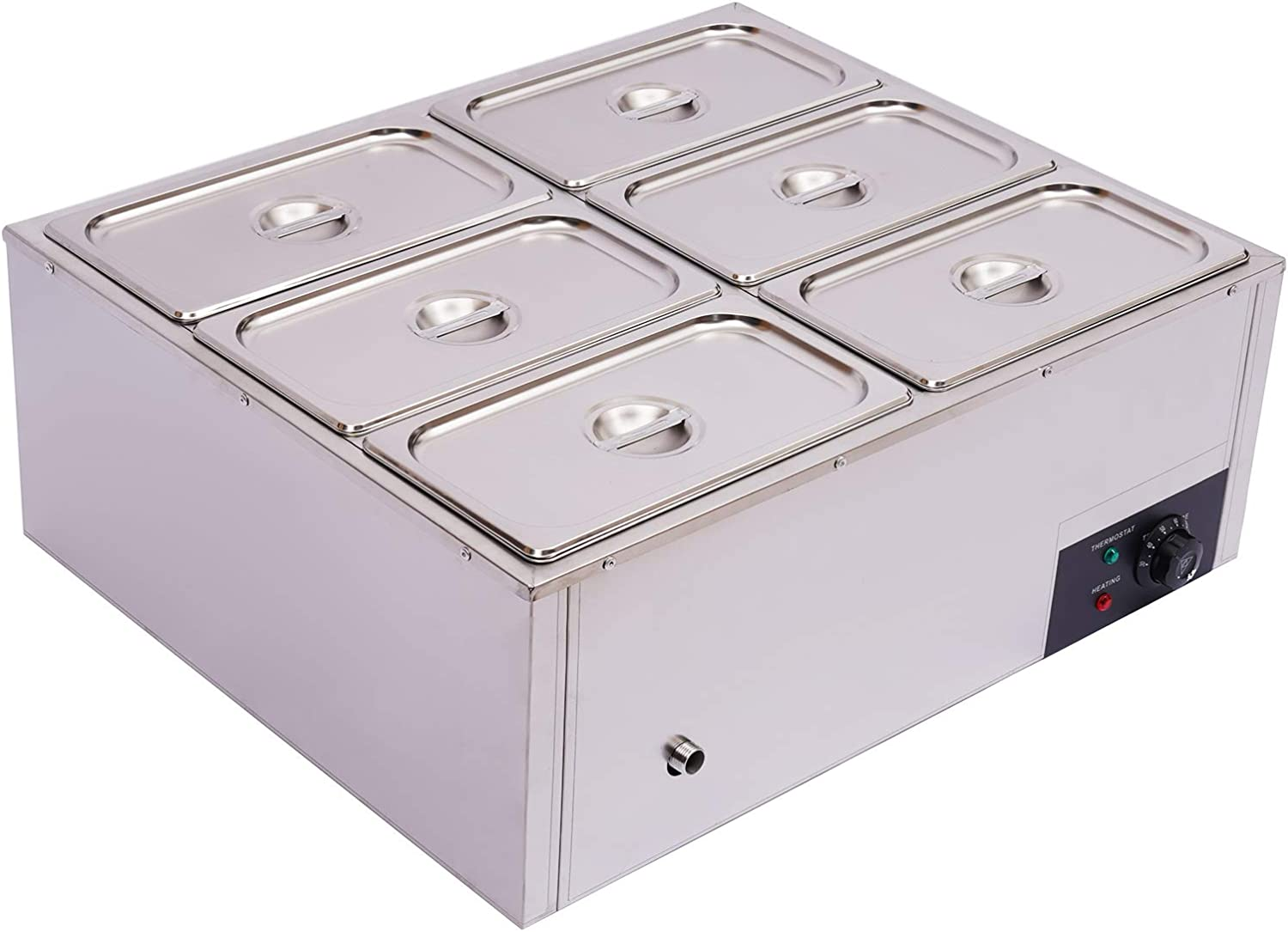 Commercial Food Warmer Limited price sale Steamer 6-Pan Max 83% OFF Stainless El Steel 1.84Gal