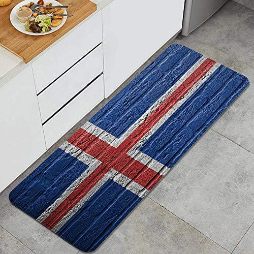 QINCO Anti Fatiga Cocina Alfombra del Piso,Rick Wall con una Pintura de una Bandera Islandia aislada,Antideslizante Acolchado Puerta Habitación Bañera Alfombra Almohadilla,120 x 45cm