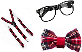 Ladies Tartan Nerd Geek Glasses Bow Squad School 3 Pcs Set One Size Red