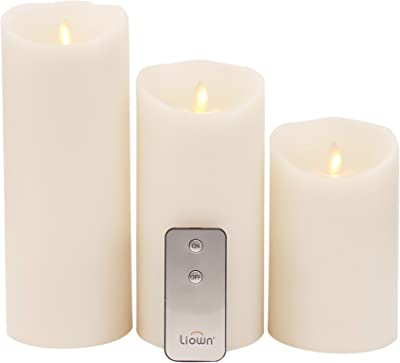 Raz Imports Push Flame Ivory Pillar Candles with Remote, Set of 3 - 2D - Flameless Lighting Accent and Battery Operated Flickering Light Source with Timer - Fake Candles for Living Room and Bedroom