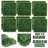GENPAR Künstliche Buchsbaumplatten, 12 Stück, 50,8 x 50,8 cm, Abdeckung 33 m², Formschnitthecke, Pflanze, UV-geschützt, Sichtschutz, für drinnen und draußen, Gartenzaun New Dark Green
