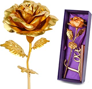 Gold Leaf 24K Gilded Artificial Roses for Thanksgiving Day Mother's Day Valentine's Day Birthday Gift (Gold)