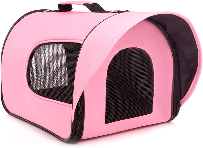 KERVINJESSIE Pet Out Carrying Case Breathable Mesh Bag Small Dog Pet Out Handbag Shoulder Bag (color   Pink, Size   S)