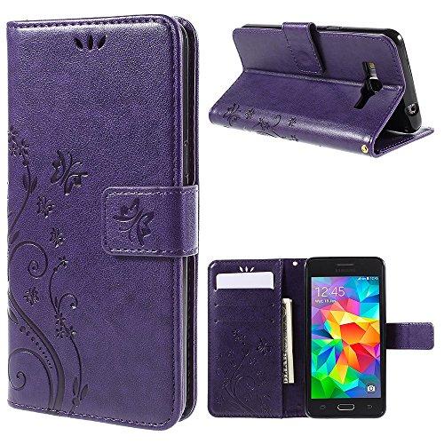 jbTec Handy Hülle Hülle Schmetterlinge passend für Samsung Galaxy Grand Prime - Schutz Tasche Smartphone Flip Cover Phone, Farbe:Lila
