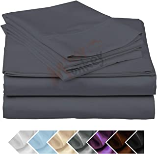 Minor Monkey Egyptian Cotton 1000 Thread Count 4 PC Solid Bed Sheet Set True Luxury Hotel Collection Fits Up to 17 Inches Deep Pocket (King, Elephant Grey)