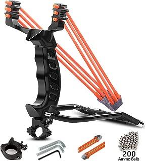 MoreFarther Professional Slingshot Wrist Sling Rocket Outdoor Hunting Sling Shot High Velocity Catapult with 2 Rubber Bands and 200 Steel Ammos