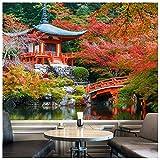 azutura Alte japanische Tempel Fototapete Rote Bäume Tapete Religion Wohnkultur Erhältlich in 8 Größen Riesig Digital