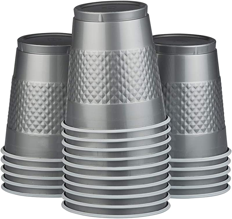 JAM PAPER Plastic Party Cups 12 Oz Silver 20 Glasses Pack