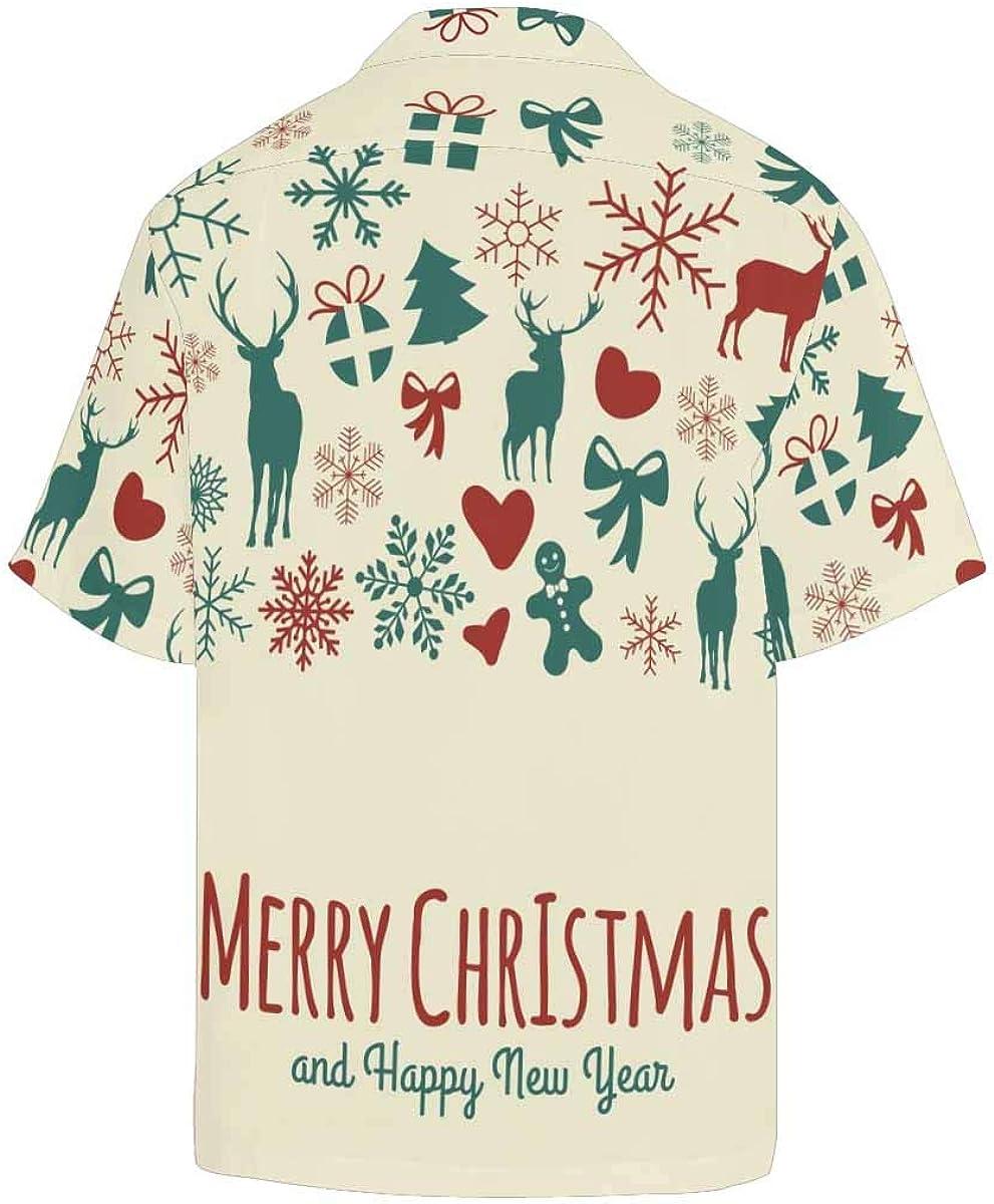 InterestPrint Men's Casual Button Down Short Sleeve Birthday Cake Hawaiian Shirt (S-5XL)