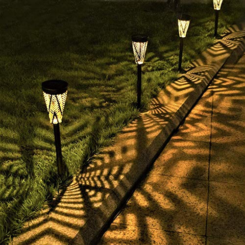 Solarleuchte Garten Solar Gartenleuchte Metall LED Weihnachten Außen Solarleuchten Solarlampen für Außen Warmweiß Wegeleuchten Wasserdicht Dekorative Licht für Terrasse Gehwege Rasen Patio (4 Stück)