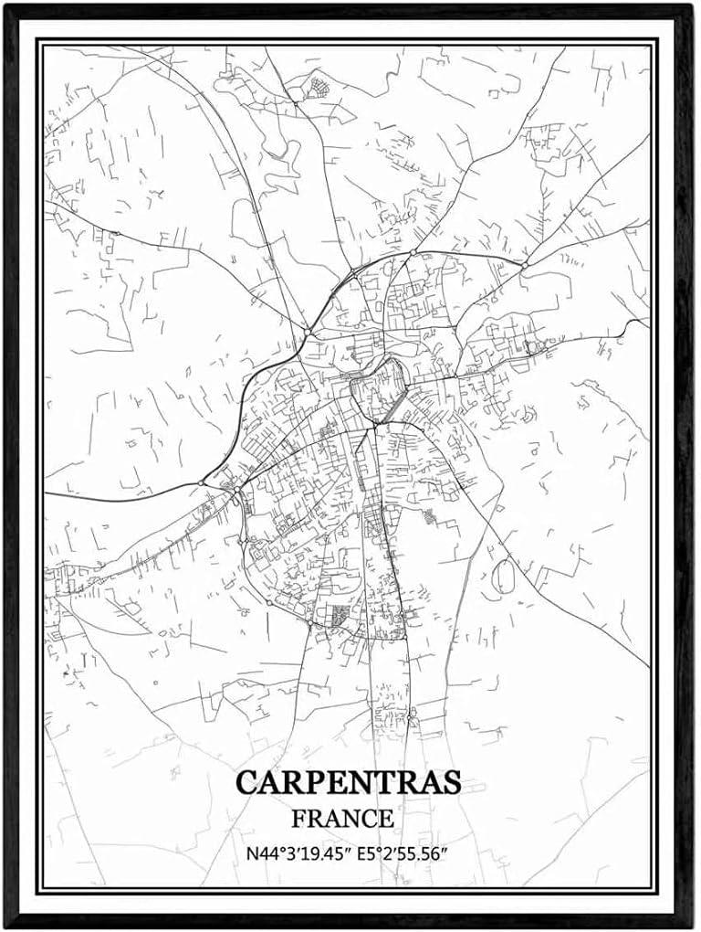 Santa elena California Estados Unidos Mapa de pared arte lienzo impresión cartel obra de arte sin marco moderno mapa en blanco y negro recuerdo regalo decoración del hogar