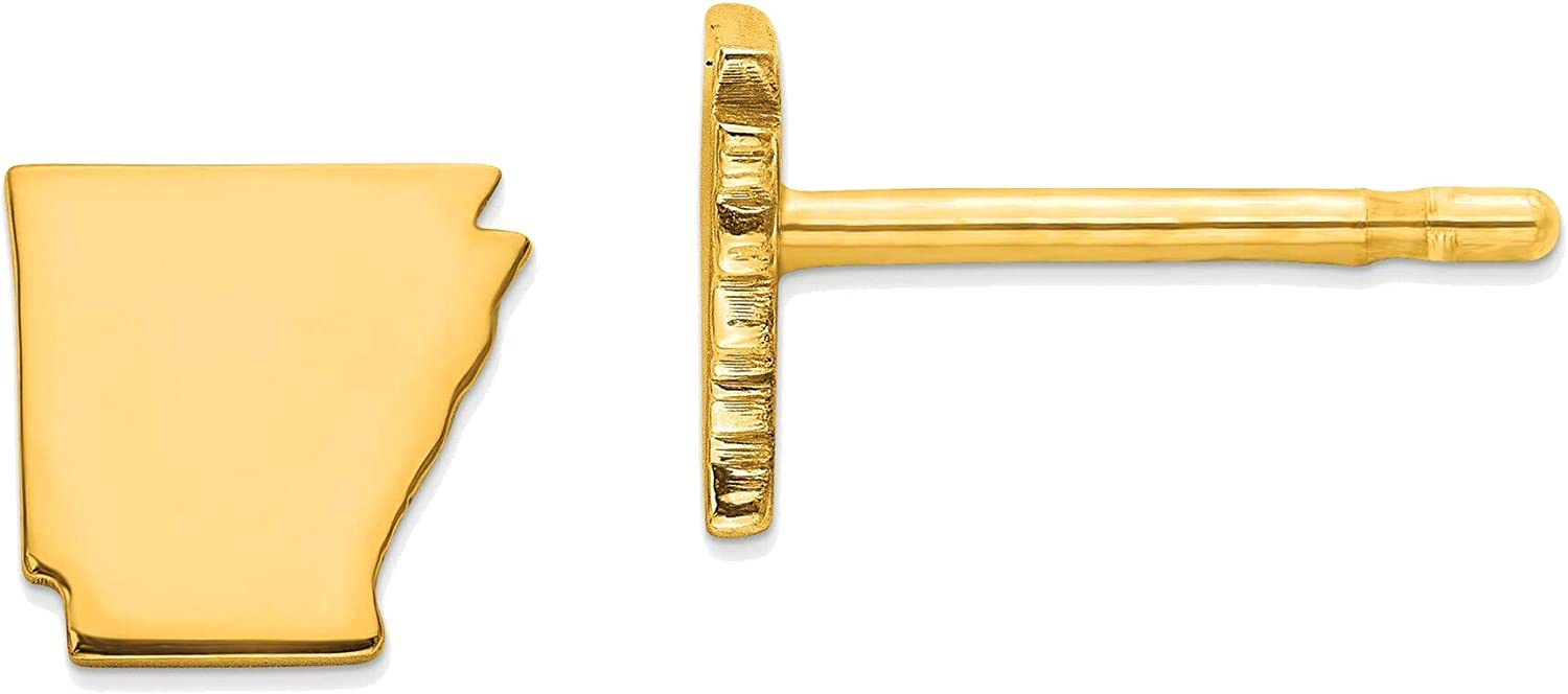 14kt Yellow Gold AR Small State Earring