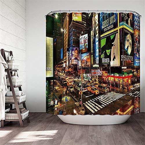 PeakLimits Shower Curtain Antischimmel Waschbar Mit 12 Duschvorhang Ringe Polyester Duschvorhang 240X200 cm Stadt/New York Duschvorhang 240X200