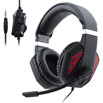 RONSHIN Like for Over Ear Gaming Headset with Mic and LED Light for Laptop Cellphone PS4 red