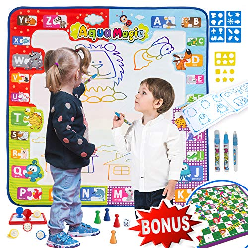 Aqua Magic Doodle Mat Large Size Color Mat For Toddlers Magic Doodle Mat + Snakes & Ladders Board Game Gift Allow Your Children To Unleash Their Imagination And Creativity Toddler Drawing Mat Age 3 +