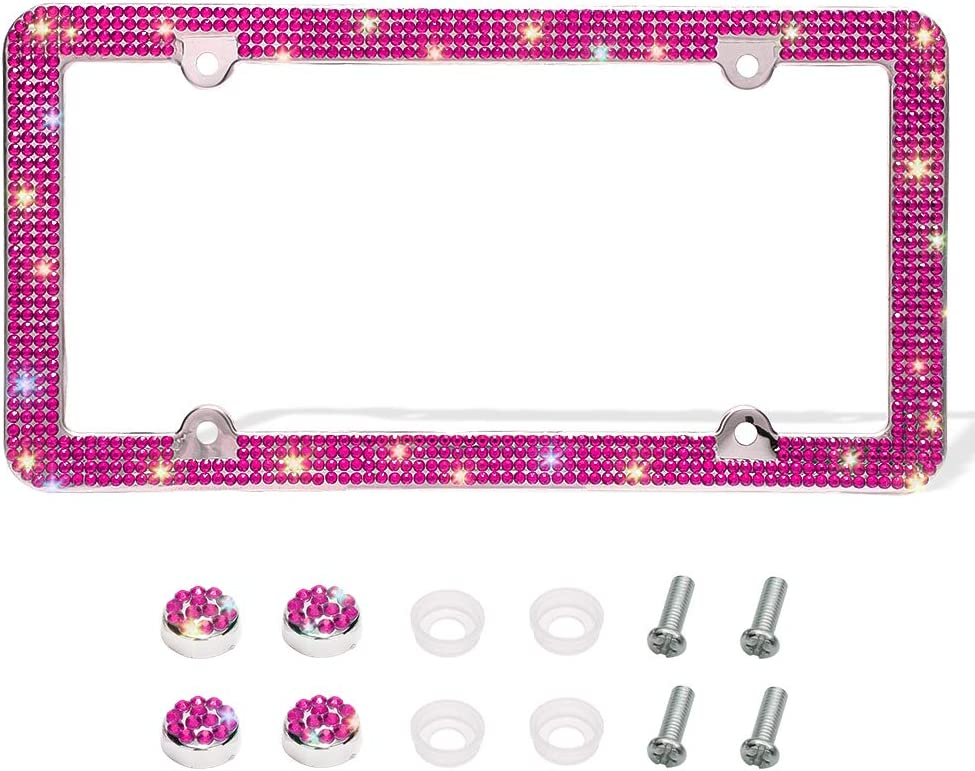 Otostar Bling License Plate Frame, Handcrafted 4 Rows Shiny Rhinestones Stainless Steel 4 Holes License Plate Frame with Anti-Theft Screws Caps Set (Hot Pink, 1 Pack)