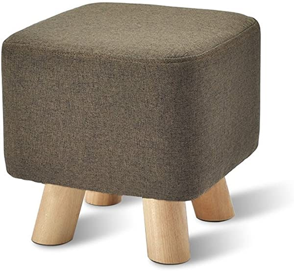 Solid Wood Change Shoes Stool Upholstered Footstool Footrest Small Seat Foot Rest Chair Orange Color 4
