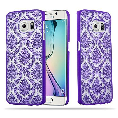 Cadorabo Custodia per Samsung Galaxy S6 Edge Hard Cover Mandala in Lilla – Rigida Protettiva Super Sottile con Bordo Protezione – Case Ultra Slim Bumper Fina Antiurto Guscio Plastica