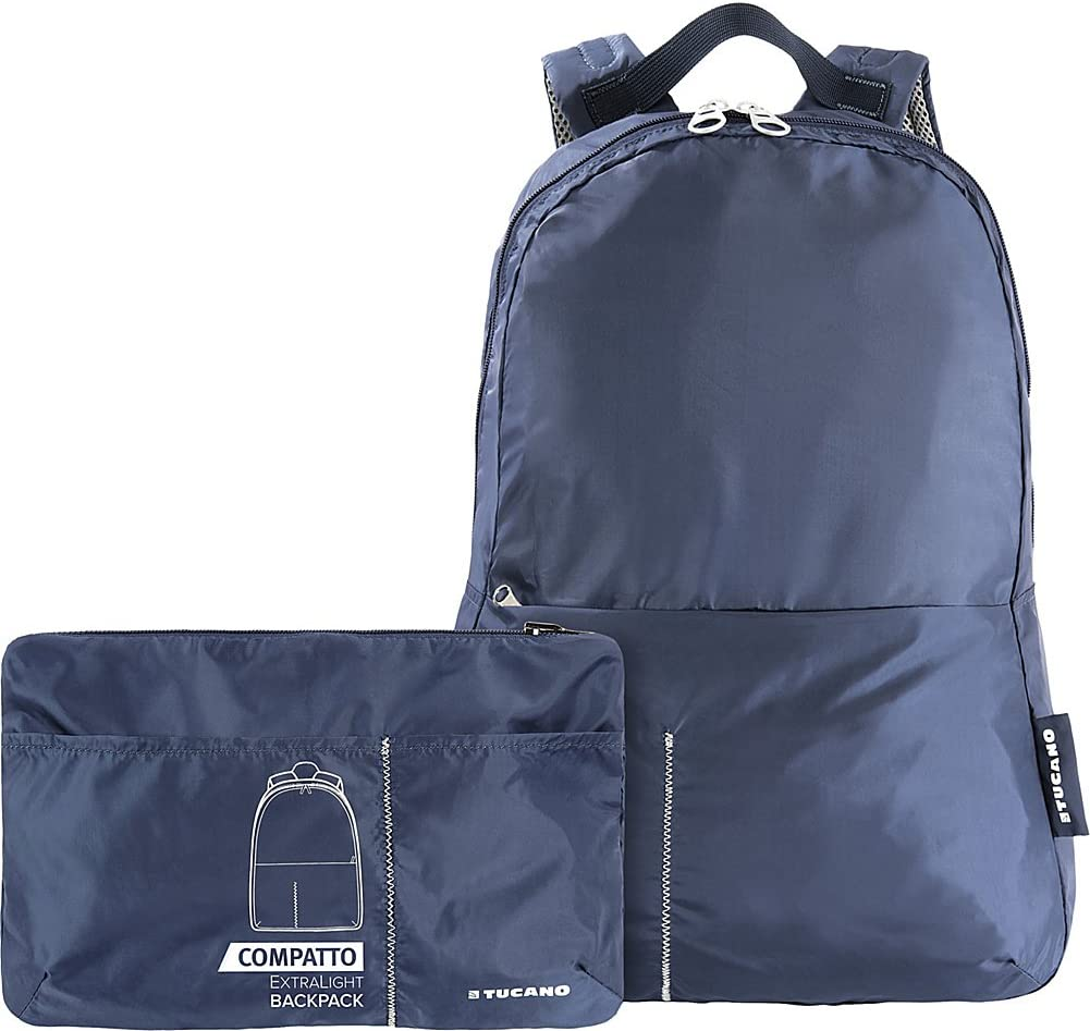 Tucano Compatto Pack Extra-Light Water-Resistant Foldable Backpack Blue