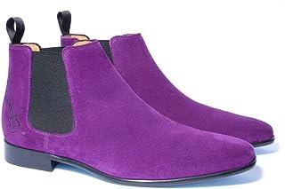 Chelsea Boots Homme en Daim | Chaussures de Ville Montantes en Cuir | Bottes Rock | Modèle Jimi | Fabrication Artisanale |...