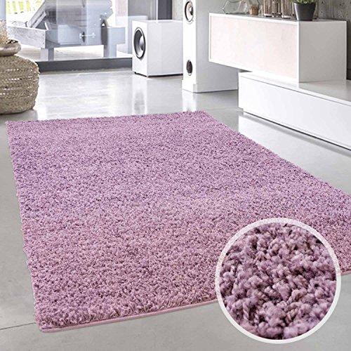 carpet city Shaggy Teppich Hochflor Langflor Pastell Einfarbig Uni Modern in Lila für Wohnzimmer; Größe: 60x90 cm