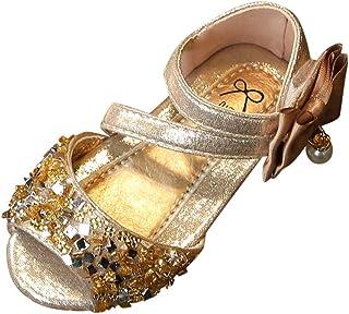 [Feiscat] 子供靴 サンダル 女の子 シンプル リボン キラキラ ファーストシューズ キッズ靴 可愛い おしゃれ ベビーシューズ 通学 通園 誕生日 運動会 出産祝い プレゼント ダンス 普段着