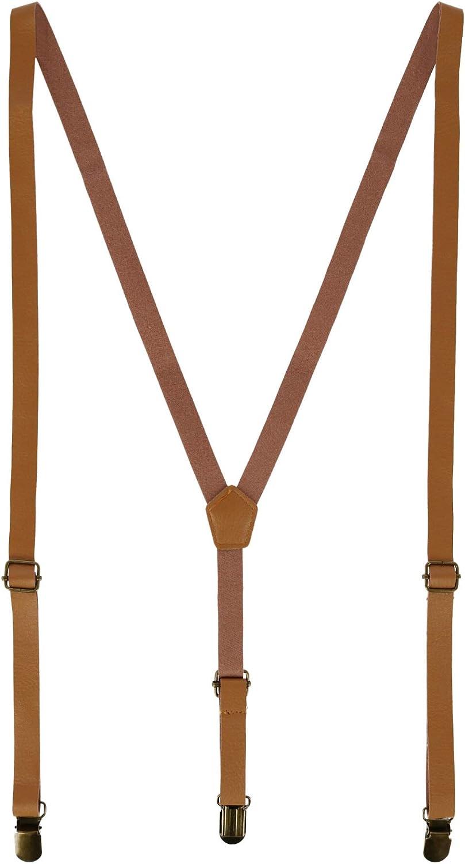 CTM Faux Leather Slim Clip-End Suspenders