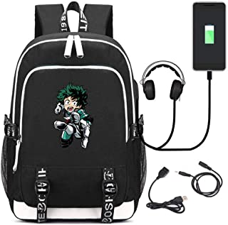 My Hero Academia Backpack Travel Laptop Bag Daypack With USB Charging Port