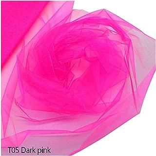 48cmx5M Yarn Crystal Tulle Roll Organza Gauze Element for Birthday Wedding Party Arch Tulle Fabric Decoration,Dark Pink