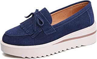 HANBINGPO 2019 Spring Women Flats Shoes Platform Sneakers Slip On Flats Leather Suede Ladies Loafers Moccasins Casual Shoes Women Creepers,3088Gray,5