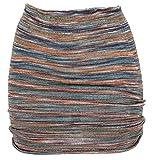 Guru-Shop Minirock, Strickrock, Ethnorock, Damen, Rostorange/taubenblau, Baumwolle, Size:36, Röcke/Kurz Alternative Bekleidung