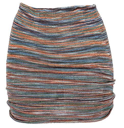 GURU SHOP Minirock, Strickrock, Ethnorock, Damen, Rostorange/taubenblau, Baumwolle, Size:36, Röcke/Kurz Alternative Bekleidung