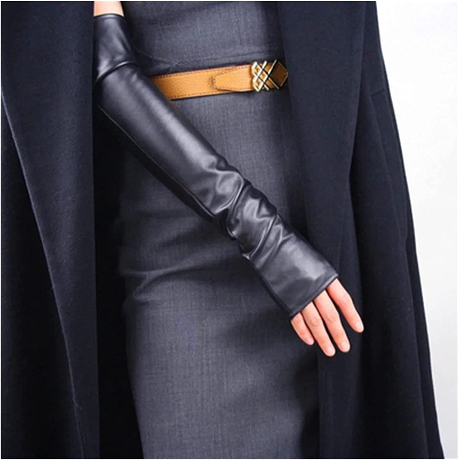 CHHNGPON Bridal Gloves Women Winter Warm Half Finger Arm Sleeve Nightclub Show Touch Screen Mitten Thin Long Fingerless Pu Leather Driving Gloves (Color : Black 50cm, Gloves Size : One Size)
