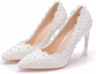 Brautschuhe Damen,Damen Tanzschuhe,Hochzeitsschuhe,9,5 Cm Stiletto Spitze High Heels,Flache Spitzensandalen,Bankett Abschl...