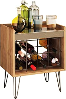 Wine Rack Industrial Design 8 Bottle Stand Alone With Sliding Glass Top Cork Display Portable Bar Cart Wood and Metal