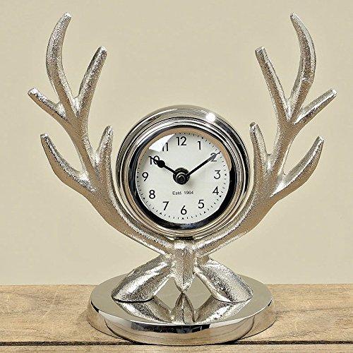 Tischuhr Kaminuhr Uhr *Geweih* Aluminium silber, Höhe 23 cm