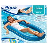 Aqua Comfort Water Lounge, X-Large, Inflatable Pool Float with Headrest & Footrest, Bubble Waves (AQL11310WA)